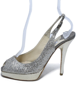Jimmy Choo Metallic Gold Silver Iridescent Leather Heels 2