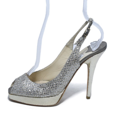 Jimmy Choo Metallic Gold Silver Iridescent Leather Heels 1