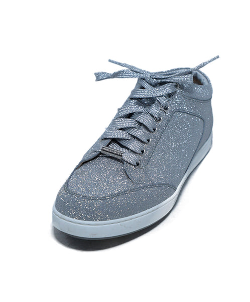 Jimmy Choo Metallic Silver Glitter Sneakers 1