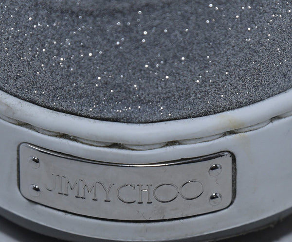 Jimmy Choo Metallic Silver Glitter Sneakers 8