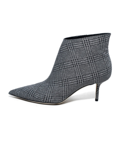Jimmy Choo Metallic Silver Lurex Plaid Booties 1