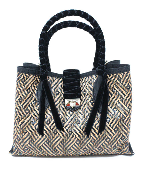Jimmy choo Neutral and Black Woven Straw Mini Tote Bag with Velvet Accents 1