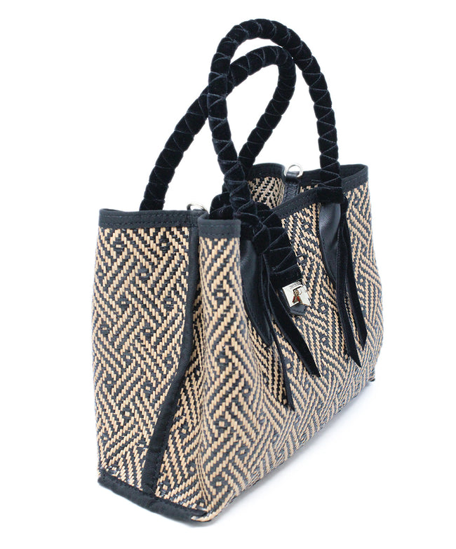 Jimmy choo Neutral and Black Woven Straw Mini Tote Bag with Velvet Accents 2