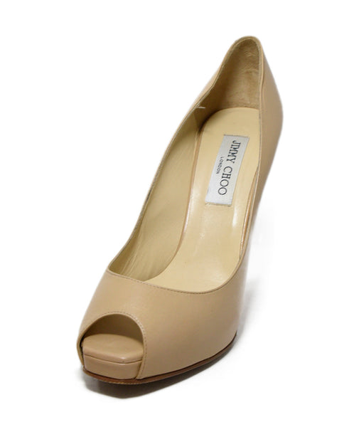 Jimmy Choo Neutral Tan Leather Peep Toe Heels 1