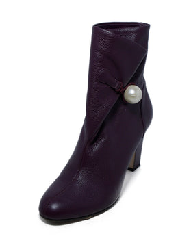 Jimmy Choo Purple Plum Leather Pearl Button Booties 1