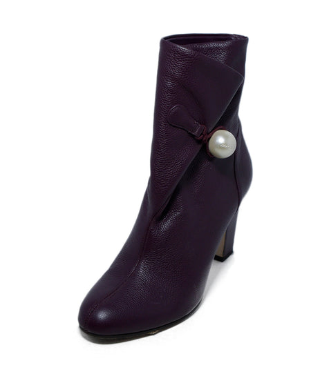 Dries Van Noten Black Leather Burgundy Trim Western Booties Sz. 37.5