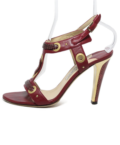 Jimmy Choo red leather gold trim shoes 1