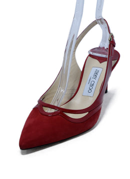 Jimmy Choo Red Suede Patent Leather Trim Heels sz. 39 | Jimmy Choo