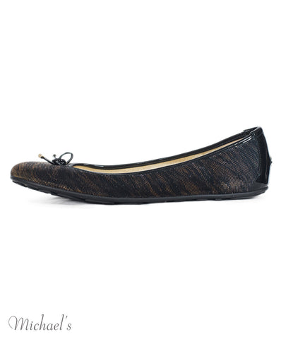 Jimmy Choo Black Gold Lurex Patent Leather Trim Ballet Flats Sz 40.5 - Michael's Consignment NYC  - 1