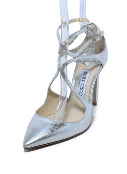 Jimmy Choo Silver Leather Shoes Heels, Sz. 37 | Jimmy Choo