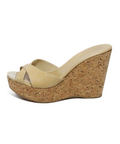 Jimmy Choo Tan Leather Cork Wedge Sandals 1