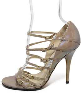 Jimmy Choo taupe iridescent leather sandals 2
