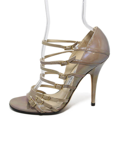 Jimmy Choo taupe iridescent leather sandals 1