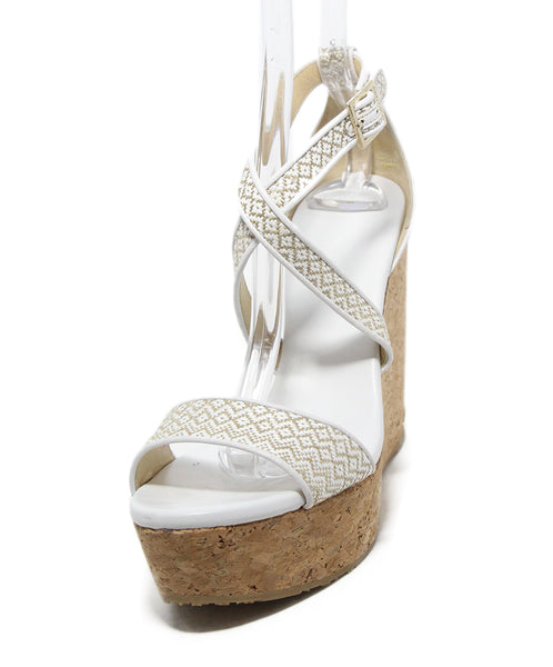 Jimmy Choo white Beige leather cork wedges 1
