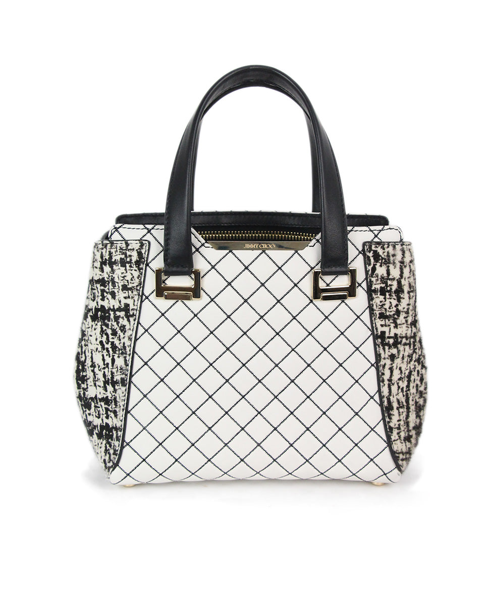 b6f1fafe63c Jimmy Choo White Black Quilted Leather Pony Trim Handbag - Michael's ...