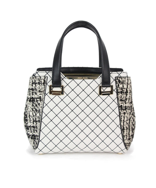 Jimmy Choo white black quilted leather pony trim bag 1