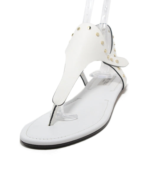 Jimmy Choo white leather gold stud sandals 1