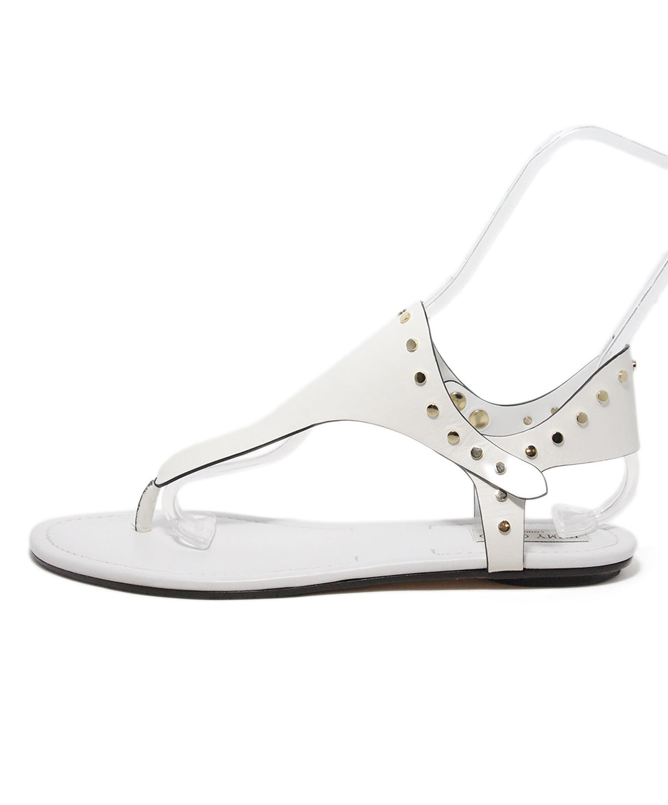 Jimmy Choo white leather gold stud sandals 2