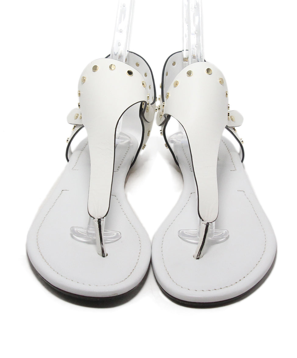 Jimmy Choo white leather gold stud sandals 4