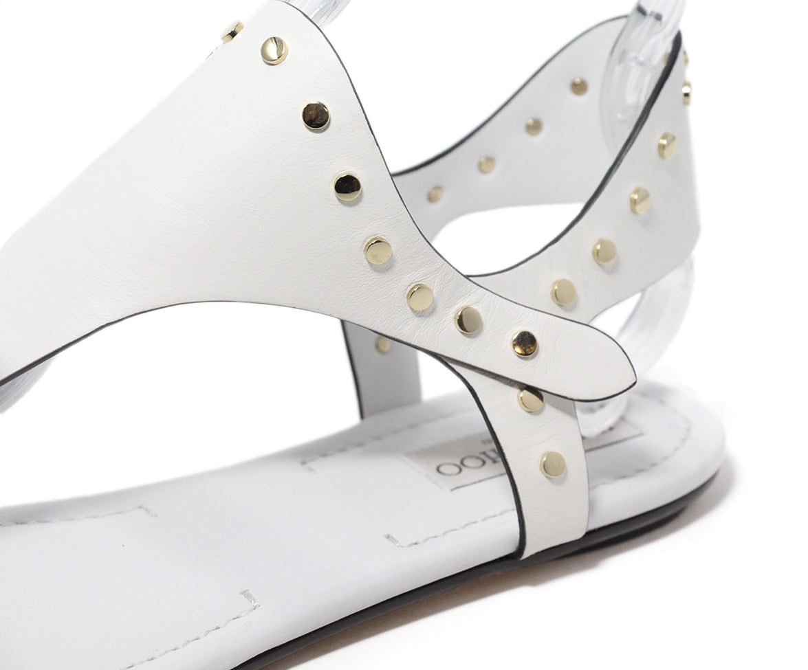 Jimmy Choo white leather gold stud sandals 8