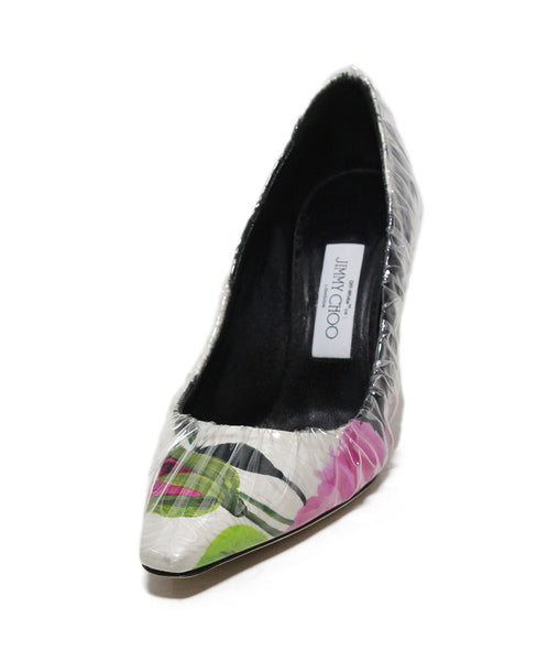 Jimmy Choo white pink black print clear plastic heels 1