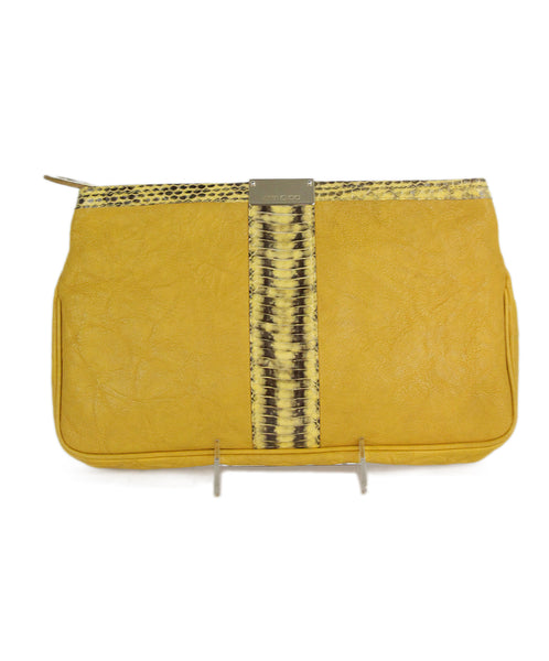 Jimmy Choo yellow leather snake skin trim clutch 1
