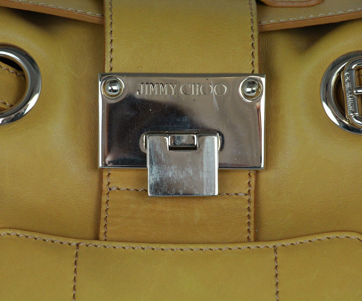 Jimmy Choo Yellow Mustard Leather Gold Trim Handbag 8