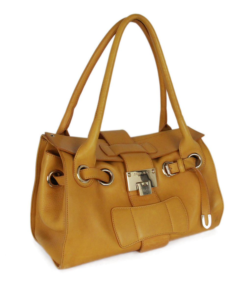 Jimmy Choo Yellow Mustard Leather Gold Trim Handbag 2