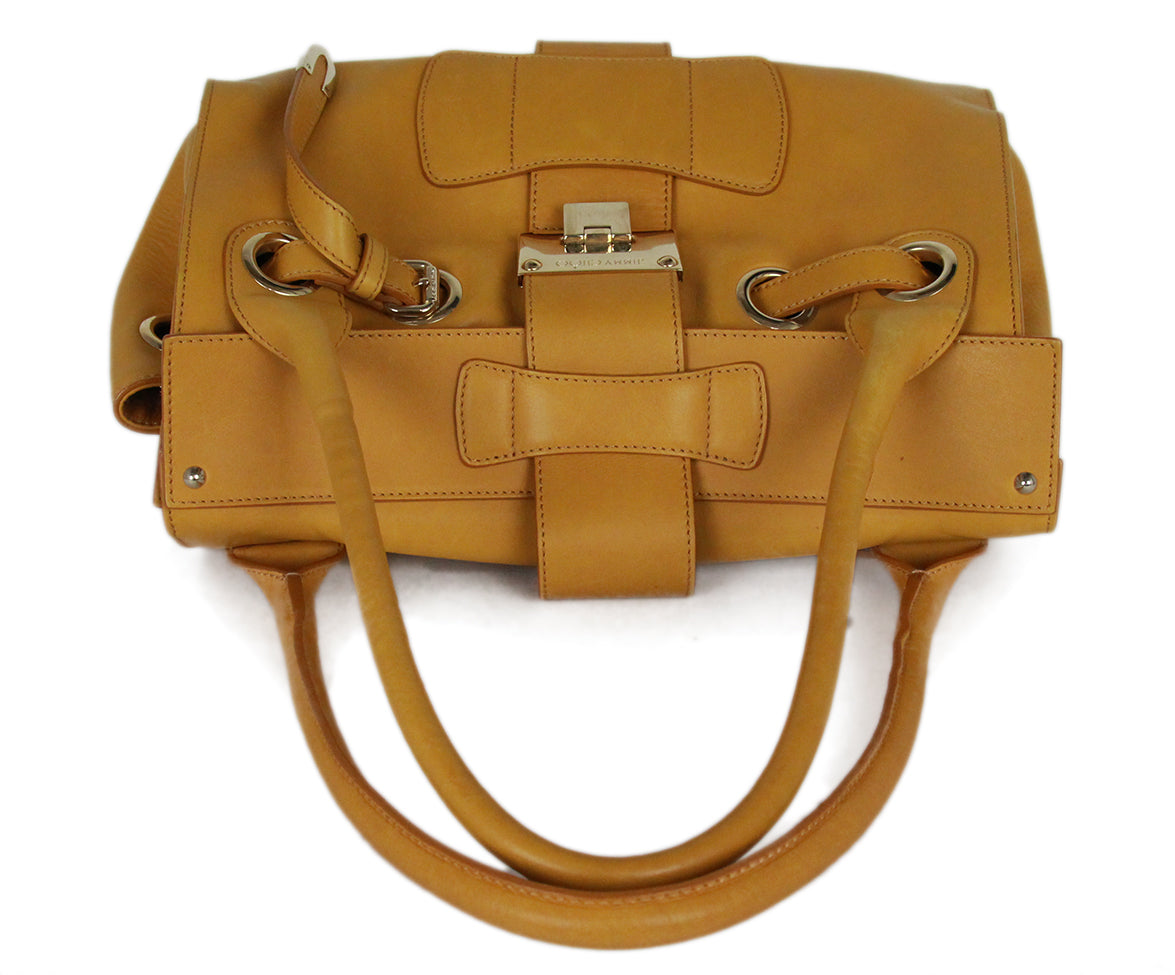 Jimmy Choo Yellow Mustard Leather Gold Trim Handbag 5