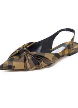 Jimmy Choo Black Bronze Plaid Nylon Flats
