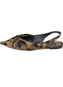Jimmy Choo Black Bronze Plaid Nylon Flats 1