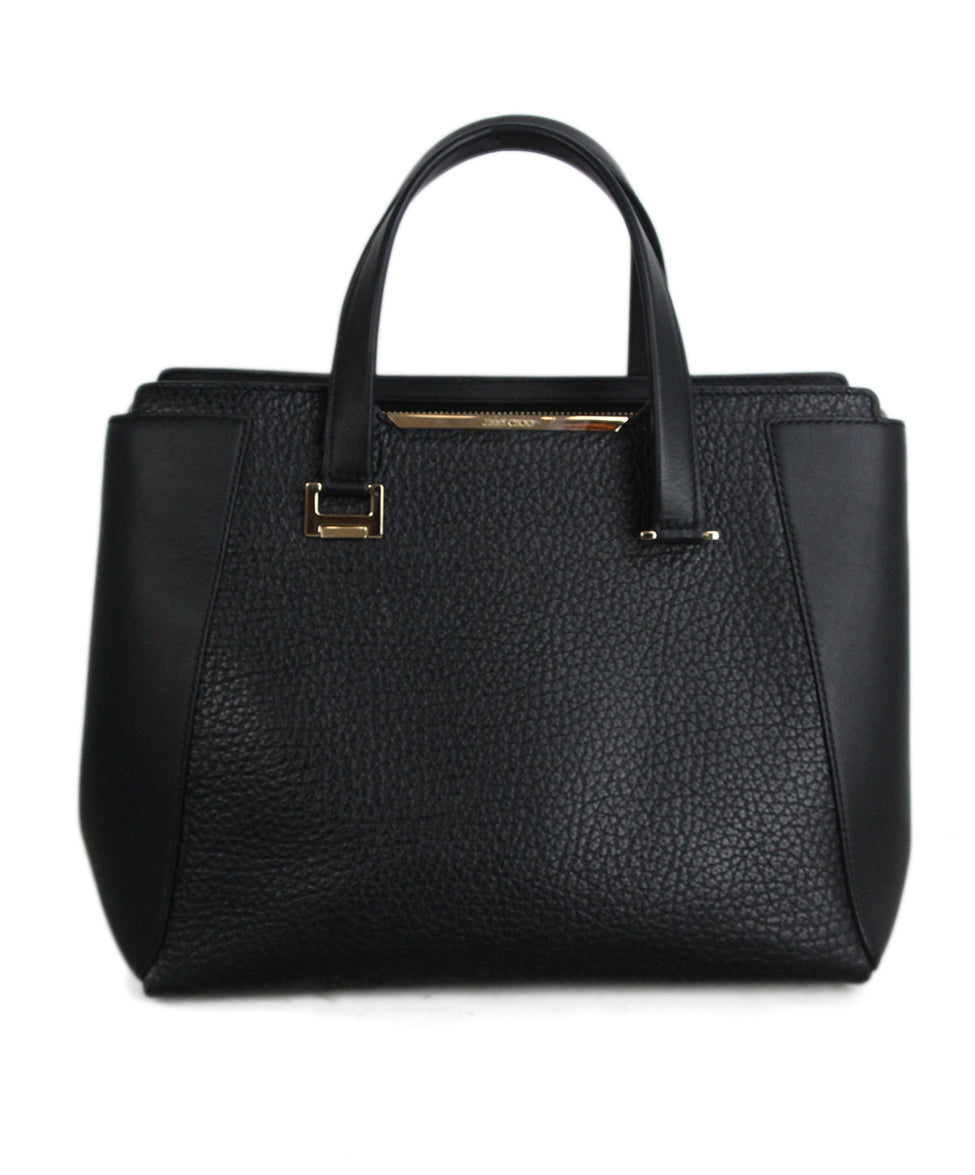 ffa384c6600 Tote Gold Hardware Jimmy Choo Black Leather W/Strap Handbag ...