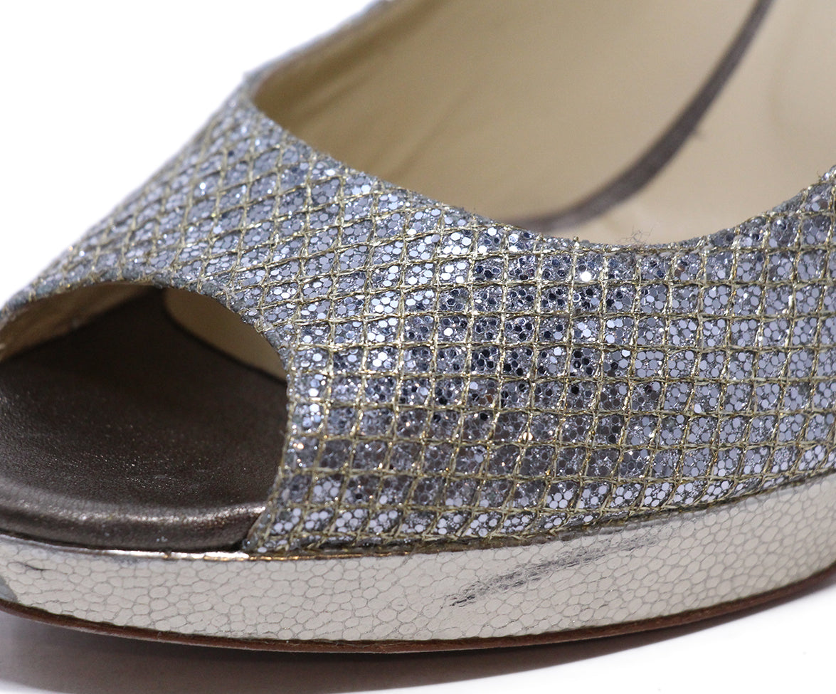 Jimmy choo Metallic silver heels 8