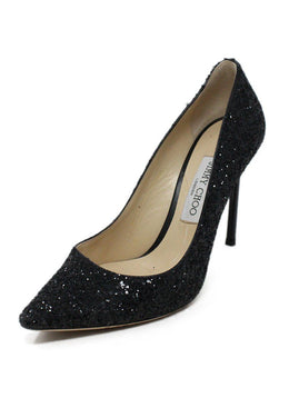 Jimmy Choo Black Glitter Heels 1