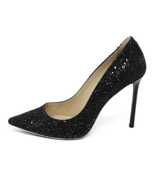 Jimmy Choo Black Glitter Heels 2