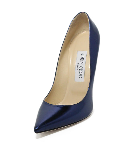 Jimmy choo blue Navy metallic leather heels 1
