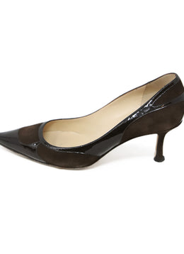 Jimmy Choo Brown Suede Patent Leather Heels 2