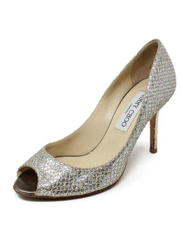 Jimmy Choo Gold Glitter Leather Peep Toe Heels 1