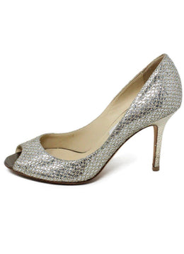 Jimmy Choo Gold Glitter Leather Peep Toe Heels 2