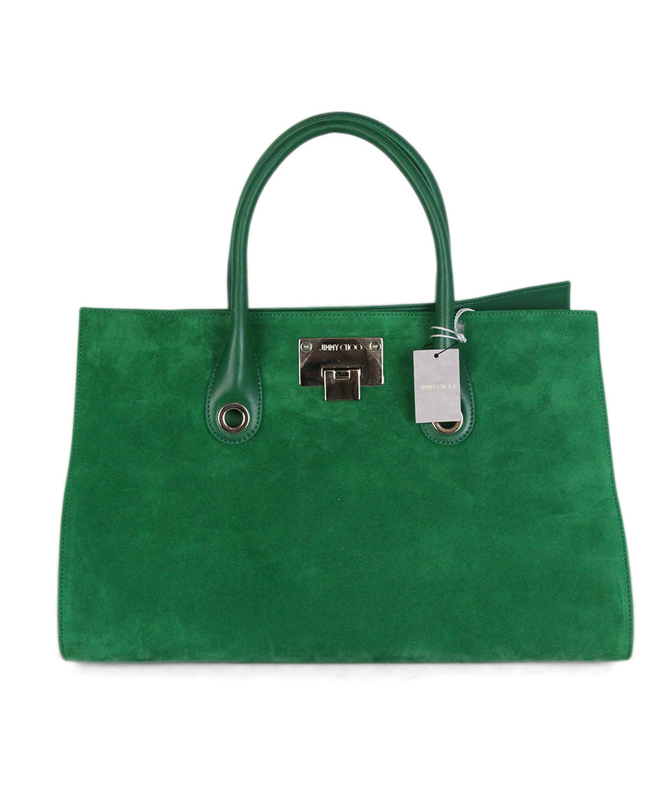 Jimmy choo green suede leather tote 1