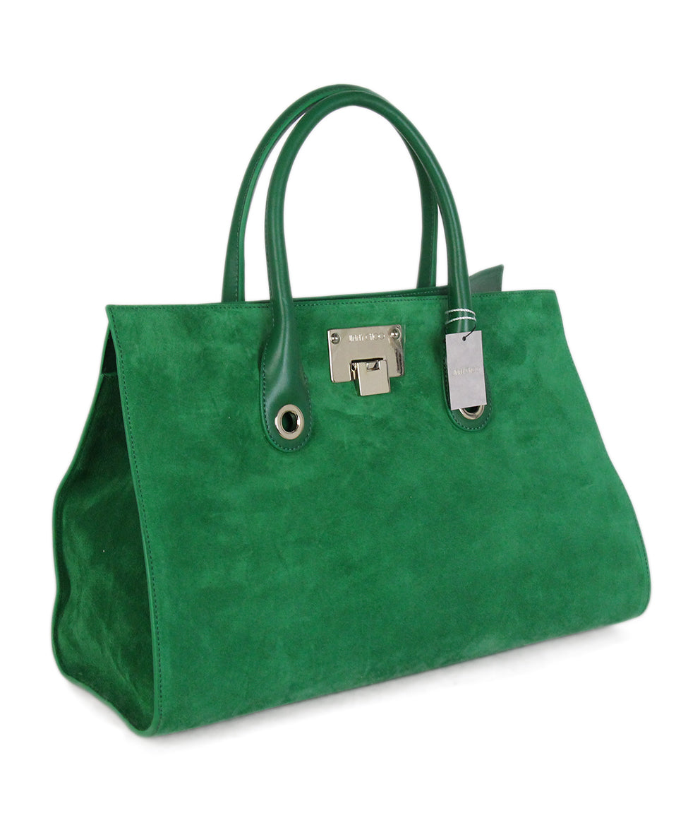 Jimmy choo green suede leather tote 2