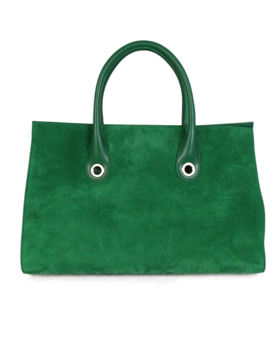 Jimmy choo green suede leather tote 3