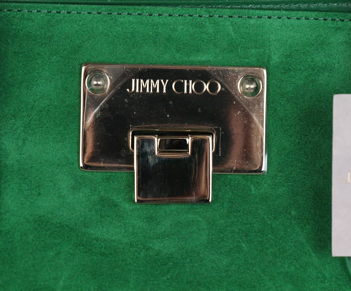 Jimmy choo green suede leather tote 9