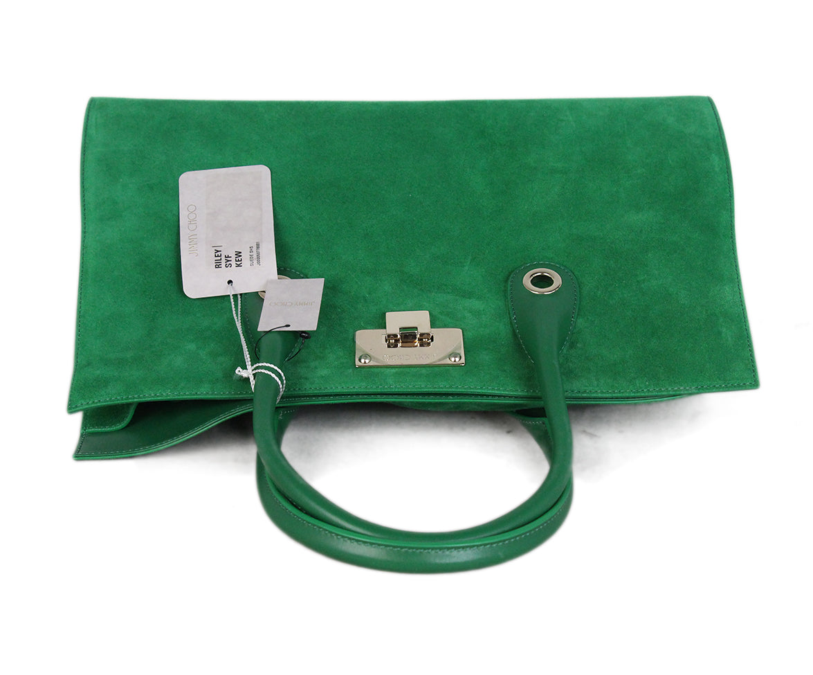 Jimmy choo green suede leather tote 5