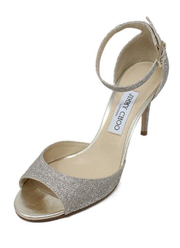 Heels Jimmy Choo Shoe Size US 8.5 Metallic Silver Glitter Leather W/Box Shoes
