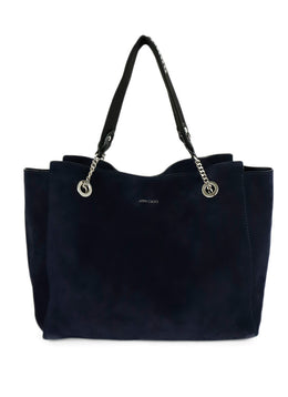Tote Silver Hardware Jimmy Choo Blue Navy Suede 1