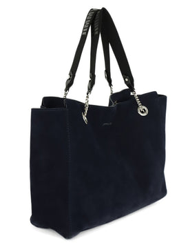 Tote Silver Hardware Jimmy Choo Blue Navy Suede 2