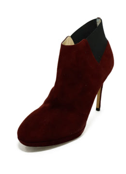 Jimmy Choo US 7 Red Burgundy Suede Elastic Trim Booties 1