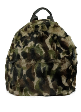 Jocelyn Green Black Camouflage Fur Backpack Handbag 1