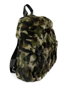 Jocelyn Green Black Camouflage Fur Backpack Handbag 2